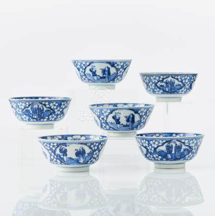 Six Chinese blue and white bowls