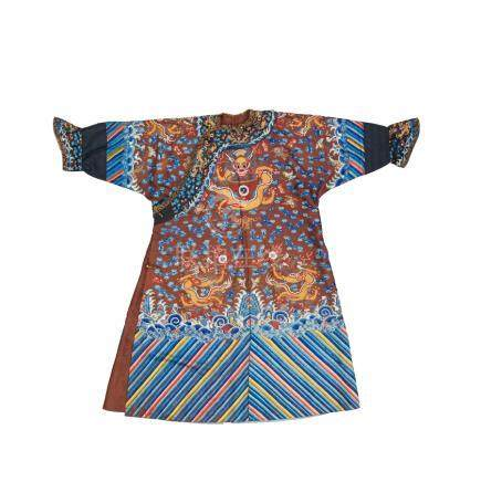 A chestnut-ground embroidered dragon robe, mangpao