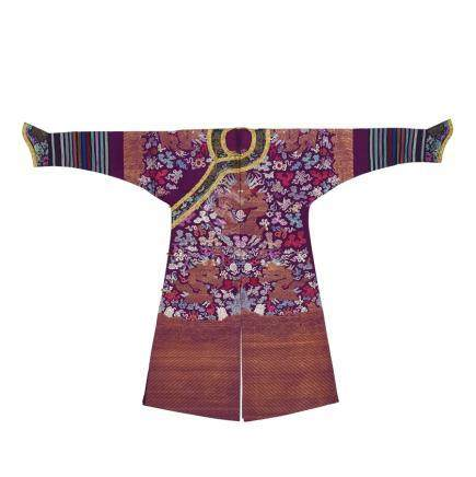 A purple-ground brocade dragon robe, jifu
