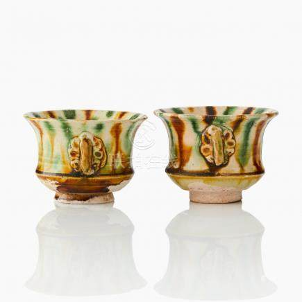 A pair of sancai glaze cups