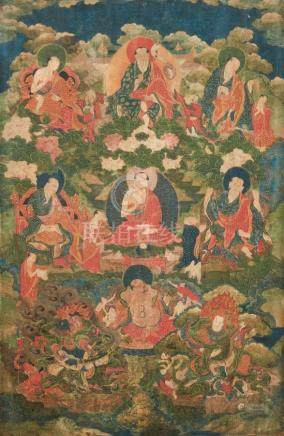An Eastern Tibetan or Tibeto-Chinese Thangka with Arhats