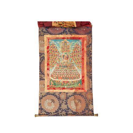 A Tibetan Thangka with the Great Assembly
