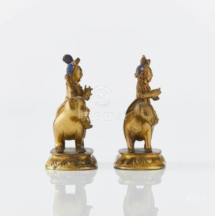 Two rare astrological Tibeto-Chinese gilt bronze figures