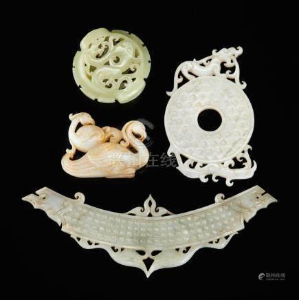 Four carved jades
