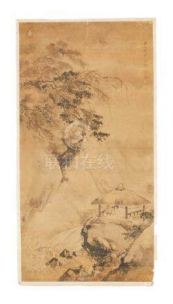 A hanging scroll painting of a landscape