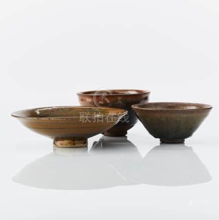 Three monochrome bowls