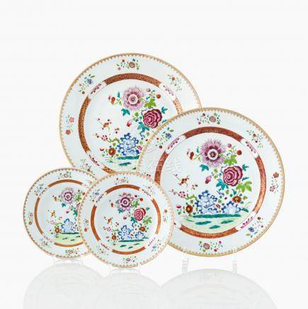 A set of four famille rose plates and dishes
