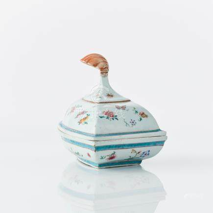A rare famille rose tureen and cover