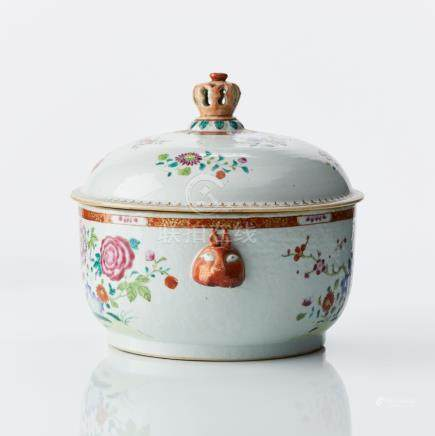 A Chinese famille rose mask handle tureen and cover
