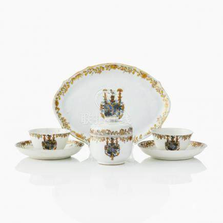 Parts of an armorial tea service for count Carl Gustaf Tessin