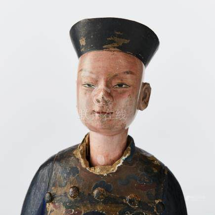 A Chinese painted 'nodding head' figure
