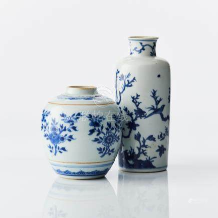 A blue and white vase and a ginger jar