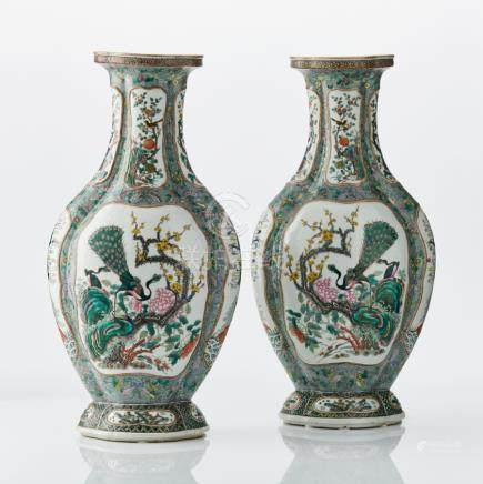 An imposing pair of Chinese famille verte vases