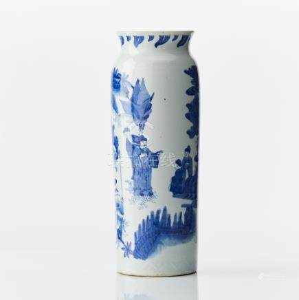 A Chinese blue and white rolwagen vase