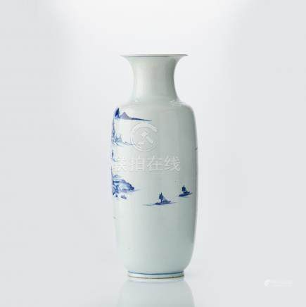 An imposing Chinese blue and white vase