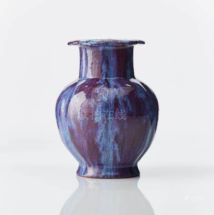 A flambe-glazed 'pomegranate' vase