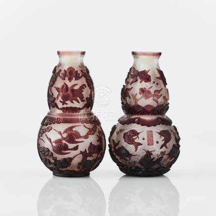 Two Peking glass double gourd vases