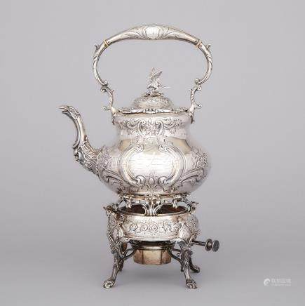 English Silver Tea Kettle on Lampstand, Goldsmiths & Silversmiths Co., London, 1912