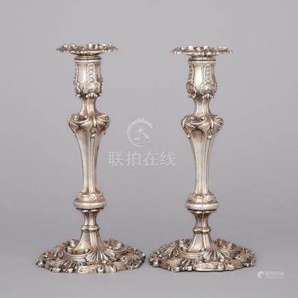 Pair of George III Silver Table Candlesticks, Kirkby, Waterhouse & Co., Sheffield, 1813