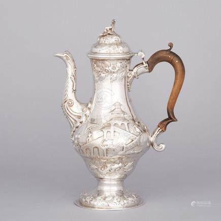 George III Silver Chinoiserie Coffee Pot, London, 1764