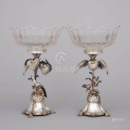 Pair of German Silver and Cut Glass Comports, c.1880