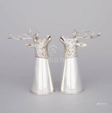 Pair of German Silver Stag's Head Stirrup Cups, for Tiffany & Co., 20th century