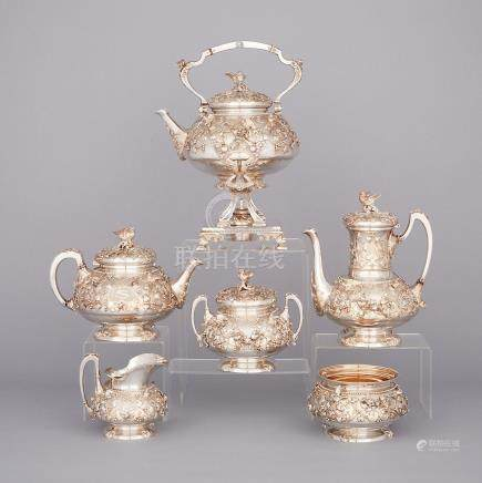 American Silver 'Bird's Nest' Pattern Tea and Coffee Service, Attr. to Tiffany & Co., c.1875