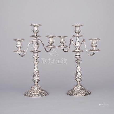 Pair of American Silver Three-Light Candelabra, Dominick & Haff for Shreve, Crump & Low of Boston