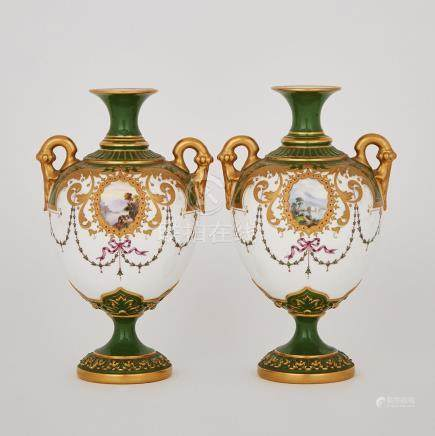 Pair of Royal Worcester 'Jewelled' Green and Gilt Ground Two-Handled Vases, c.1900