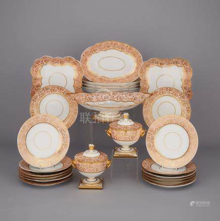 Flight, Barr & Barr Worcester Apricot and Gilt Banded Part Service, c.1820 (23 Pieces)