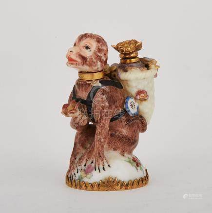 Chelsea Monkey with Basket Double Scent Bottle, c.1755