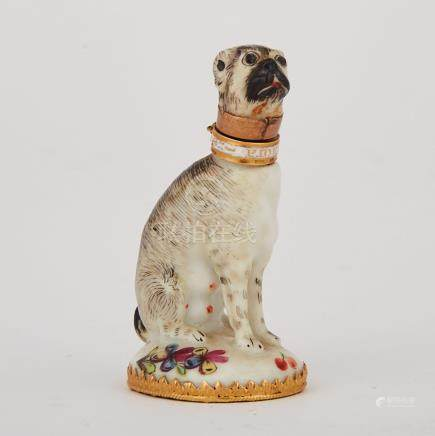 English Porcelain Seated Dog Scent Bottle, possibly Chelsea, c.1755