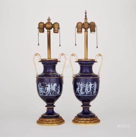 Pair of Meissen Pâte-sur-Pâte Blue Ground Two-Handled Vase-Form Table Lamps, late 19th century