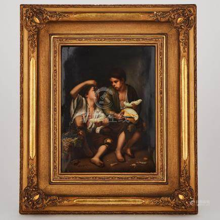 Berlin Rectangular Plaque, 'Children Eating Grapes and Melon', after Murillo, late 19th century