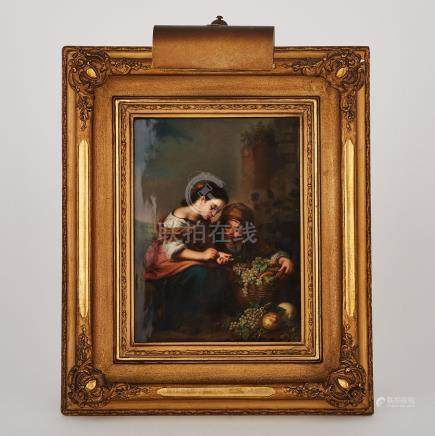 Berlin Rectangular Plaque, 'The Little Fruit Seller', after Murillo, late 19th century