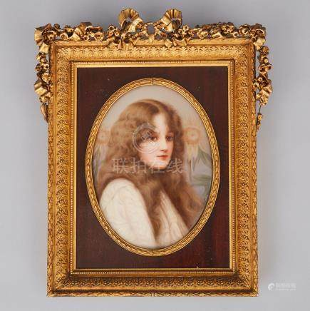 Dresden Oval Portrait Plaque of a Young Woman, c.1900