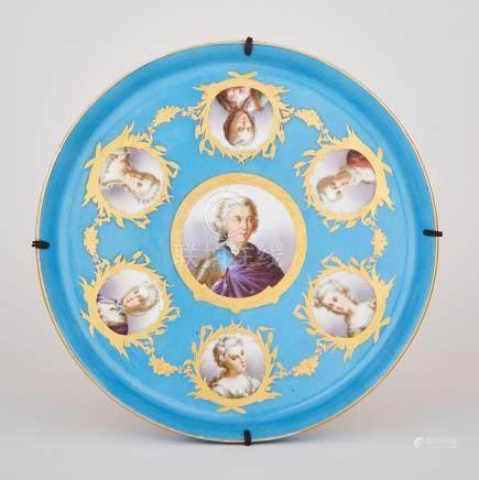 'Sèvres' Bleu Céleste Ground Circular Tray, late 19th century