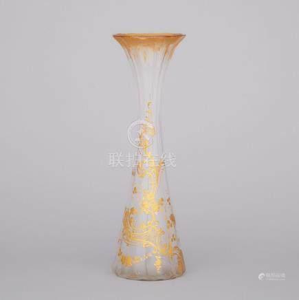 Daum Gilt Decorated Glass Vase, late 19th century