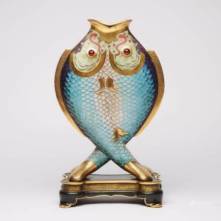 French 'Japonisme' Cloisonné Enamel, Gilt and Patinated Bronze Double Fish Form Vase Christofle