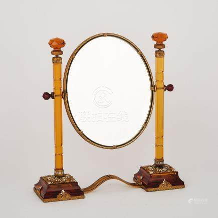 Russian Champlev̩ Enamelled and Marcasite Set Ormolu Mounted Cut Amber Glass Toilet Mirror