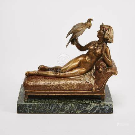 Franz Bergman Cold Painted Bronze Model of Cleopatra Reclining with a Cockatoo,early 20th century