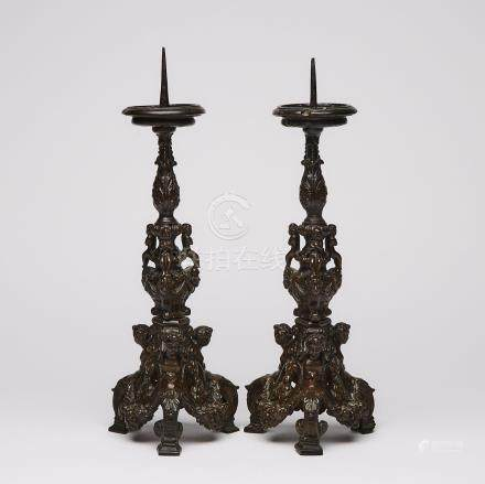 Pair of North Italian Renaissance Bronze Pricket Candlesticks with Pesaro Family Coat of Arms