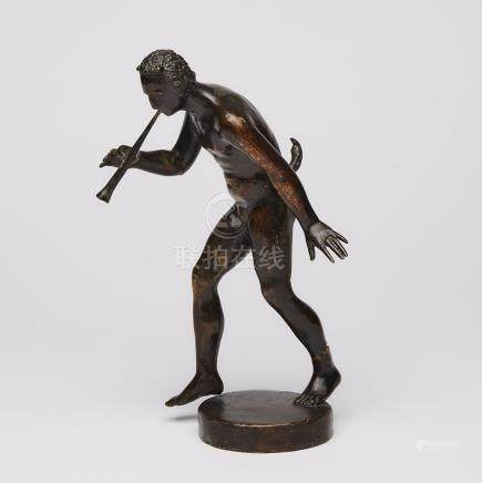 North Italian Bronze Figure of a Faun Playing a Flute, Attr. to the Workshop of Severo Calzetta