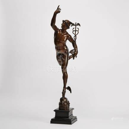 French Patinated Bronze Figure of Mercury after the Model by Giambologna, 19th century
