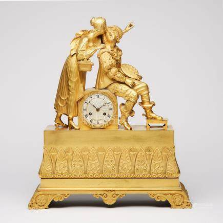 French Empire Gilt Bronze Figural Mantel Clock, early 19th century
