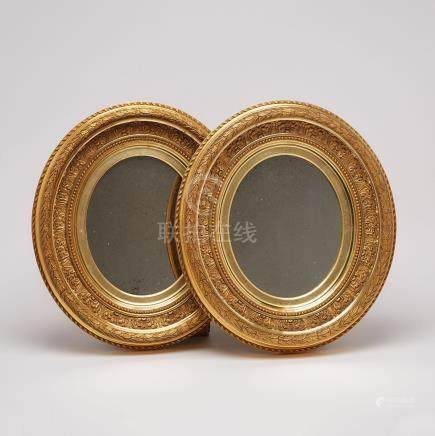 Pair of French Neoclassical Oval GIlt Gesso Girandol Mirrors, 19th century