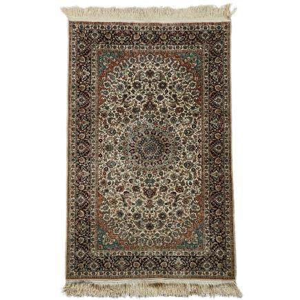 Indo Ispahan Silk Rug, mid 20th century, 5 ft 1 ins X 3 ft 2 ins — 1.5 m X 1 m