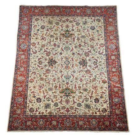 Tabriz Carpet, Persian, c.1930, 12'7\ X 9'8\ – 3.8 X 2.9 m