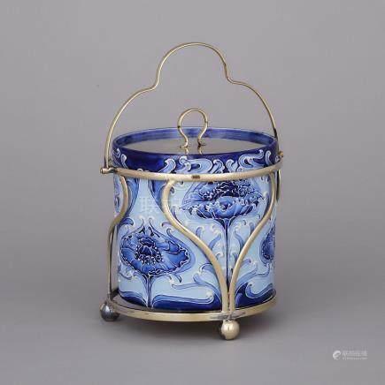 Macintyre Moorcroft Florian Poppy Covered Biscuit Jar, c.1898, height 9.1\ — 23 cm.