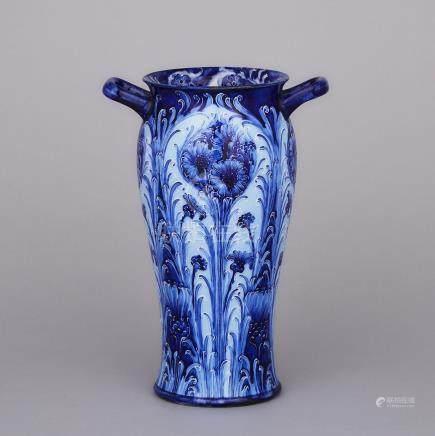 Macintyre Moorcroft Florian Two-Handled Cornflower Vase, c.1902, height 9.8\ — 25 cm.